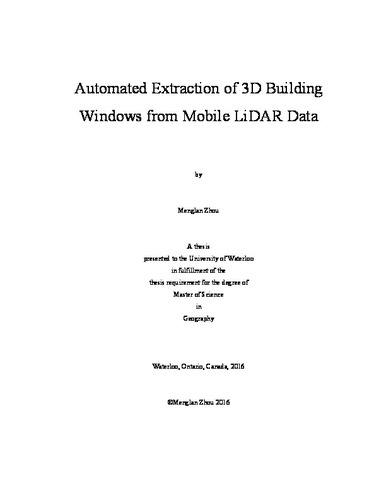 Automated Extraction of 3D Building Windows from Mobile LiDAR Data