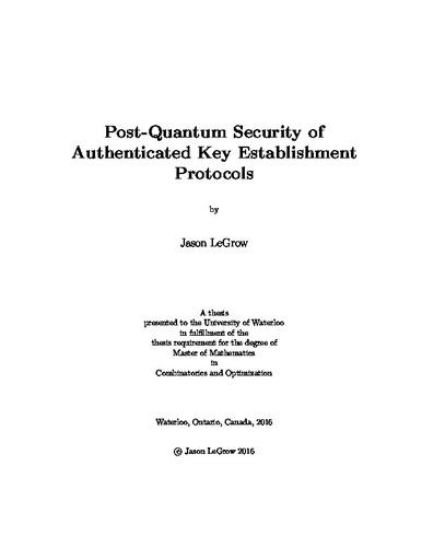 Post-Quantum Security of Authenticated Key Establishment