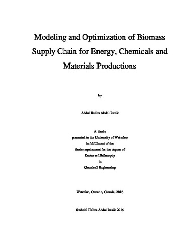 Modeling and Optimization of Biomass Supply Chain for Energy
