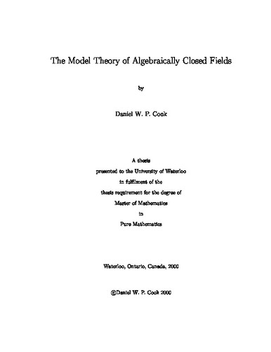 The Model Theory of Algebraically Closed Fields