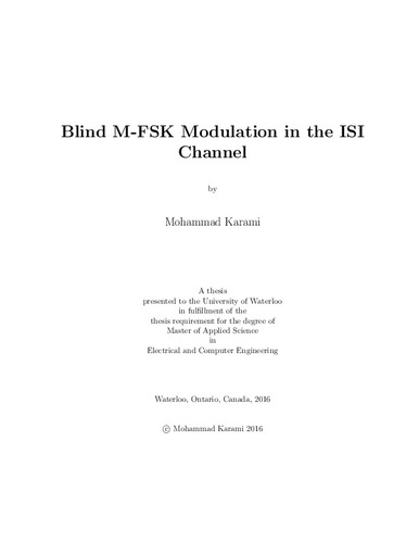 Blind M-FSK Modulation in the ISI Channel