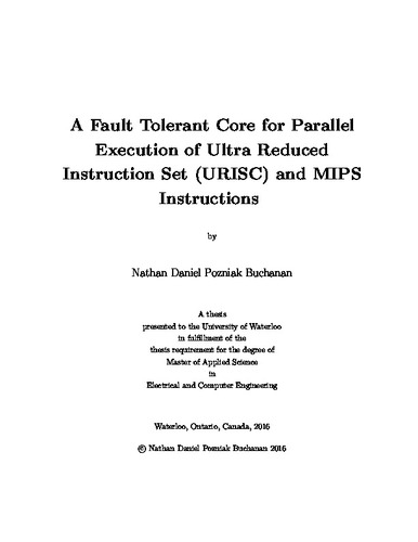 A Fault Tolerant Core For Parallel Execution Of Ultra Reduced