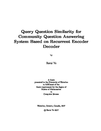 Query Similarity for Community Question Answering System