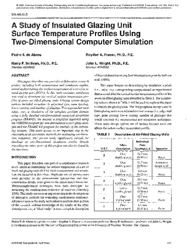 A study of insulated glazing unit surface temperature