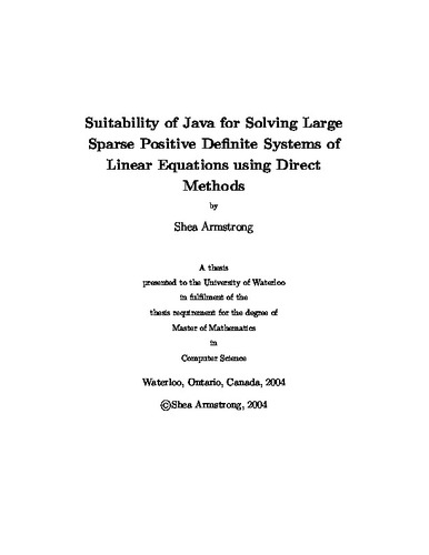 Suitability of Java for Solving Large Sparse Positive Definite