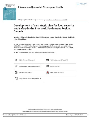 Development of a strategic plan for food security and safety