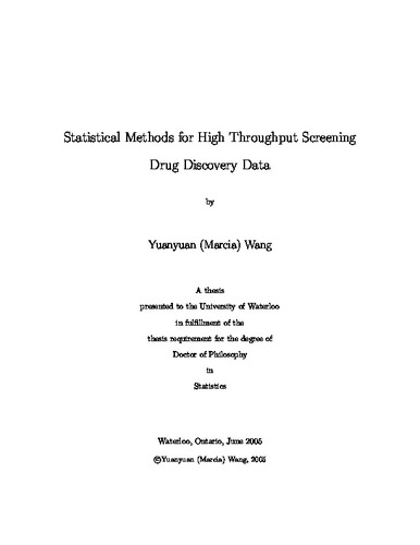 Statistical Methods for High Throughput Screening Drug Discovery Data