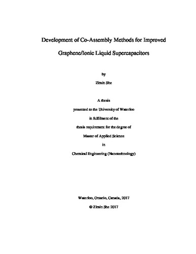 Development of Co-Assembly Methods for Improved Graphene/Ionic