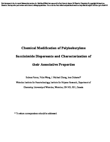 Chemical Modification Of Polyisobutylene Succinimide Dispersants And