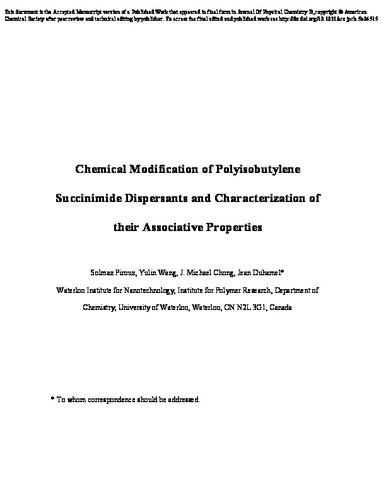 Chemical Modification Of Polyisobutylene Succinimide Dispersants And