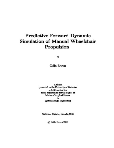 Predictive Forward Dynamic Simulation Of Manual Wheelchair Propulsion