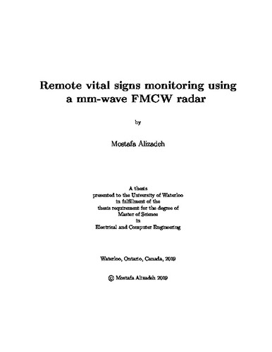 Remote vital signs monitoring using a mm-wave FMCW radar