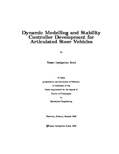 Dynamic Modelling and Stability Controller Development for