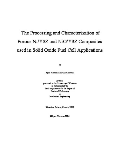 The Processing and Characterization of Porous Ni/YSZ and NiO