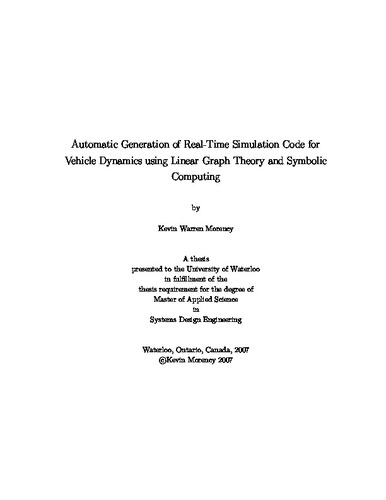 Automatic Generation of Real-Time Simulation Code for Vehicle