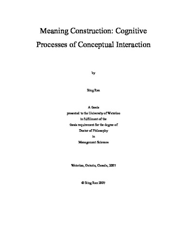 Meaning Construction: Cognitive Processes of Conceptual Interaction