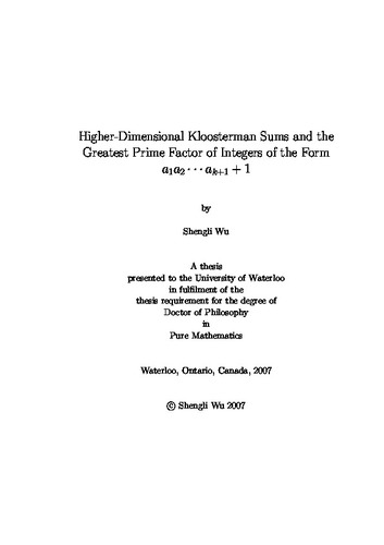 Higher-Dimensional Kloosterman Sums and the Greatest Prime Factor of