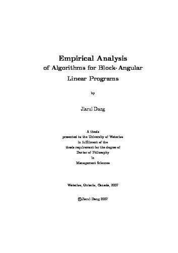 Empirical Analysis Of Algorithms For Block Angular Linear Programs