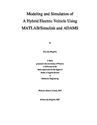 Modeling and Simulation of A Hybrid Electric Vehicle Using MATLAB