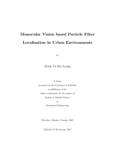 Monocular Vision based Particle Filter Localization in Urban
