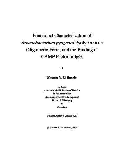 Functional Characterization of Arcanobacterium pyogenes Pyolysin in