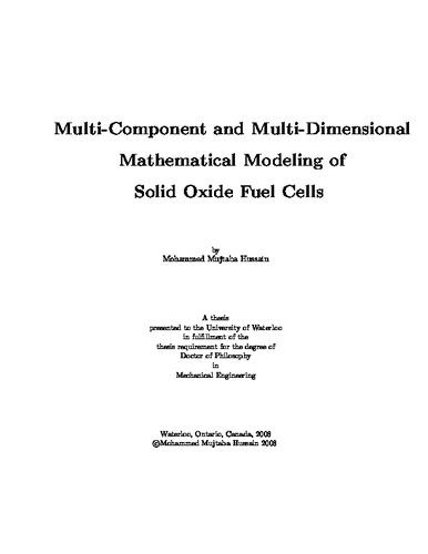 Multi-Component and Multi-Dimensional Mathematical Modeling
