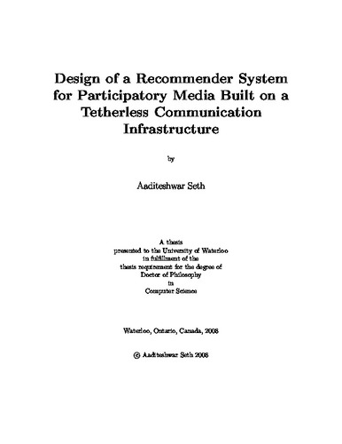 Design of a Recommender System for Participatory Media