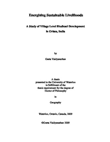 Energizing Sustainable Livelihoods  A Study of Village Level