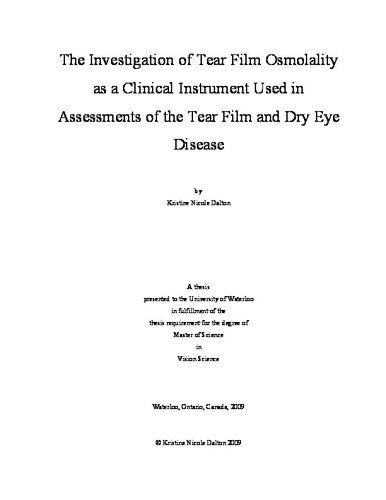 The Investigation of Tear Film Osmolality as a Clinical Instrument