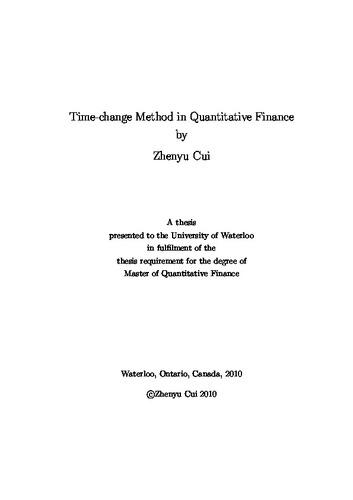 Time change method in quantitative finance