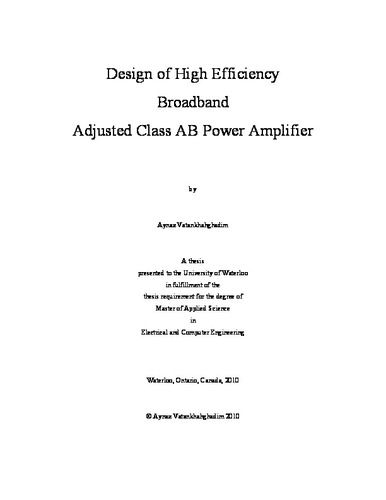 Design of High Efficiency Broadband Adjusted Class AB