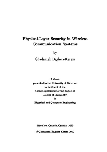 Physical-Layer Security in Wireless Communication Systems