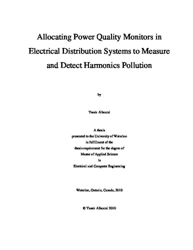 Allocating Power Quality Monitors in Electrical Distribution
