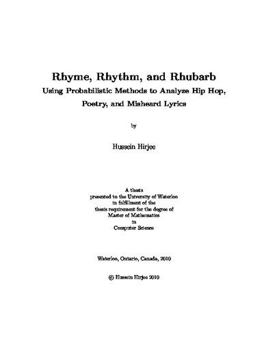 Rhyme, Rhythm, and Rhubarb: Using Probabilistic Methods to