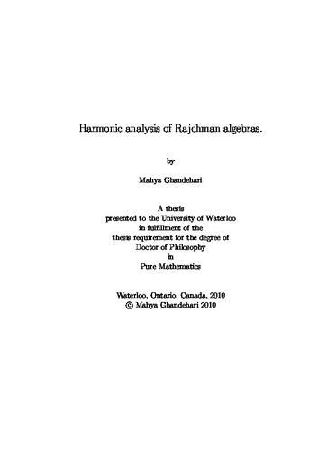 Harmonic analysis of Rajchman algebras