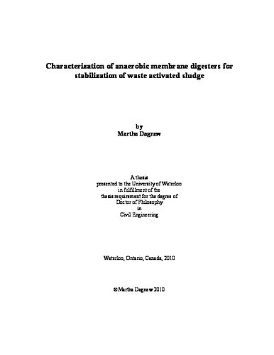 Characterization of anaerobic membrane digesters for