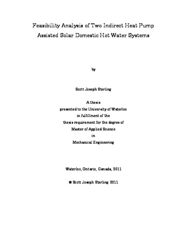 Feasibility Analysis of Two Indirect Heat Pump Assisted Solar ...