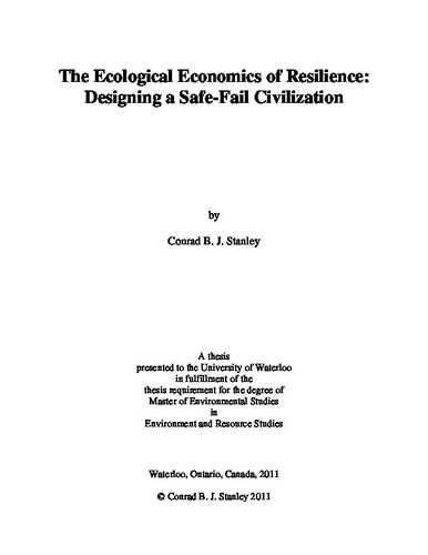 The Ecological Economics of Resilience: Designing a Safe