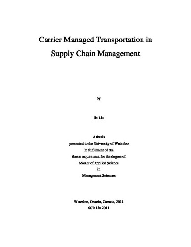 Carrier Managed Transportation in Supply Chain Management