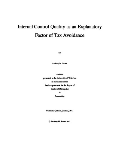 thesis on tax avoidance Phd in accounting » alumni kai chen internal control quality as an explanatory factor of tax avoidance thesis committee: klassen (supervisor), macnaughton.