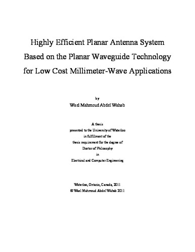 dielectric resonator antenna thesis Dielectric resonator  wave frequencies where the size of the antenna is reduced to the  this thesis, is to exploit polymer-based resonator.