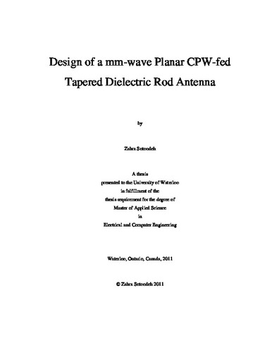 Design of a mm-wave Planar CPW-fed Tapered Dielectric Rod