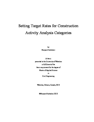 Setting Target Rates for Construction Activity Analysis