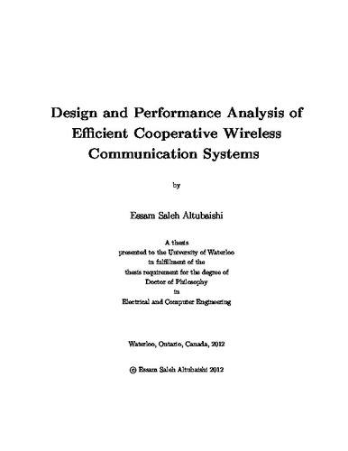 Design and Performance Analysis of Efficient Cooperative Wireless ...