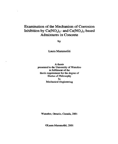 Examination of the mechanism of corrosion inhibition by