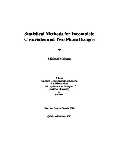 Statistical Methods for Incomplete Covariates and Two-Phase