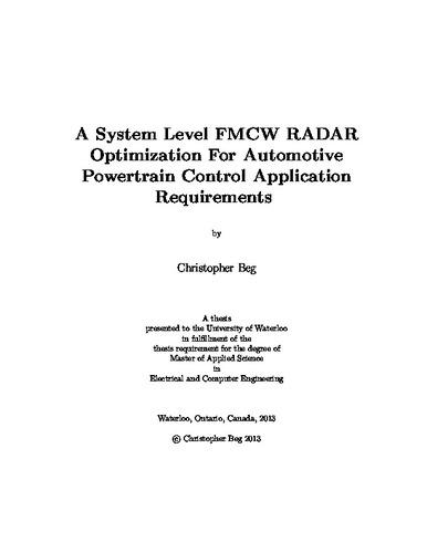 A System Level FMCW RADAR Optimization For Automotive