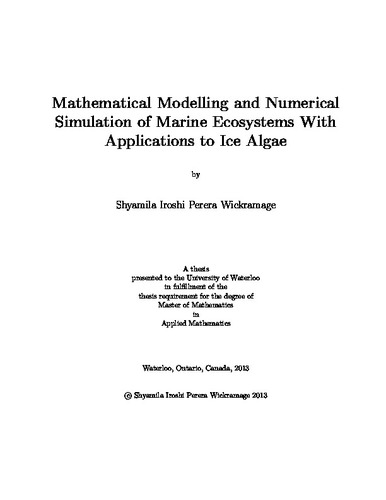 Mathematical Modelling and Numerical Simulation of Marine