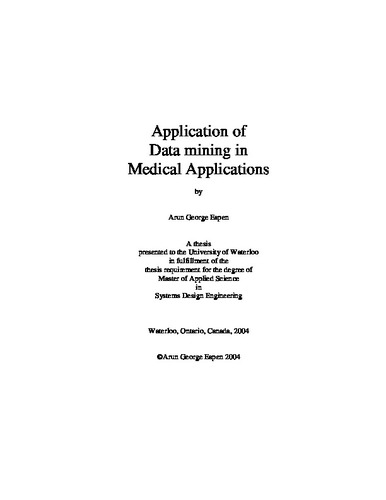 Application of Data mining in Medical Applications