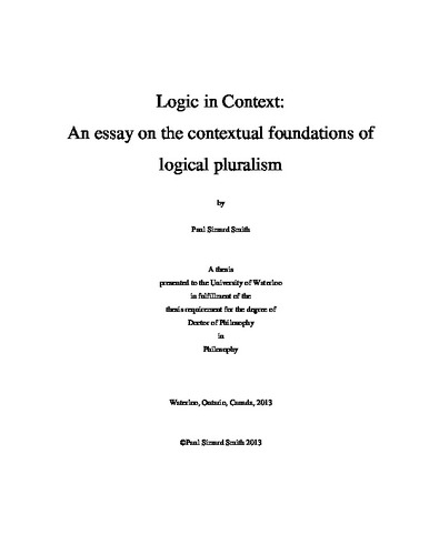 logic in context an essay on the contextual foundations of  logic in context an essay on the contextual foundations of logical pluralism
